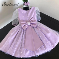Lovely Illusion Pearls Skirt Flower Girl Dresses Back Satin Bow Girl Pageant Dresses Illusion Pearls Sleeves Communion Dress