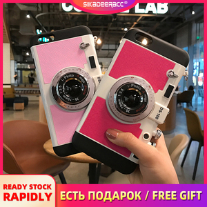 Чехлы для телефонов с ремешком для iPhone 5 5s 6 6s 7 Plus, мягкая силиконовая винтажная камера с полной защитой, ударопрочный чехол для задней панели