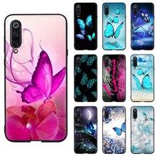 Case Xiaomi Mi Note 10 11 Ultra 11i 10T Pro Lite Poco X3 NFC F2 F3 M3 Anti fall Soft Phone case butterfly on white roses flower