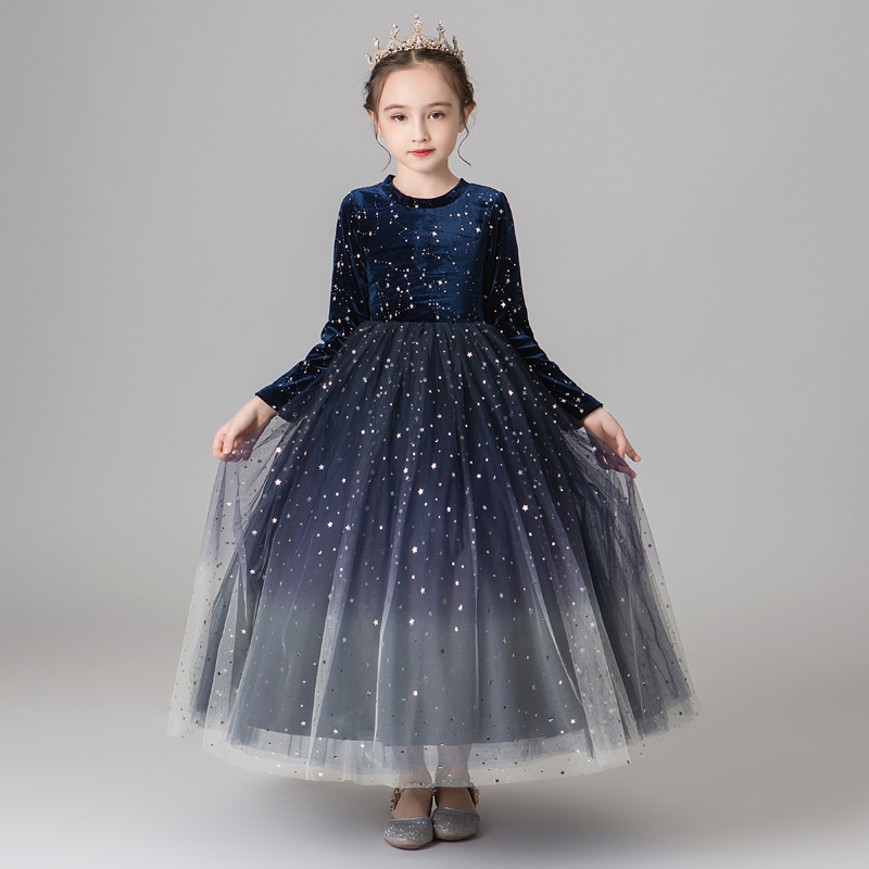 Girls princess dress autumn winter new Teen girl long-sleeved mesh dress for girl wedding Party Christmas costumes 5 8 10 14Year image