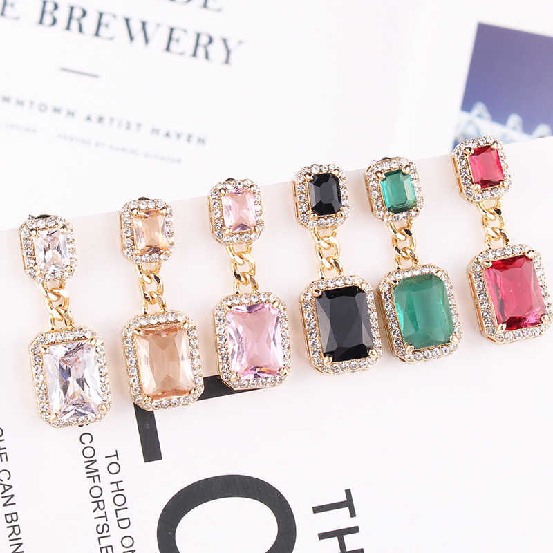 LUBOV 2019 New Fashion Multicolor Square Zircon Drop Earrings Pendant Fashion Jewelry for Women Christmas Party Wedding Earrings