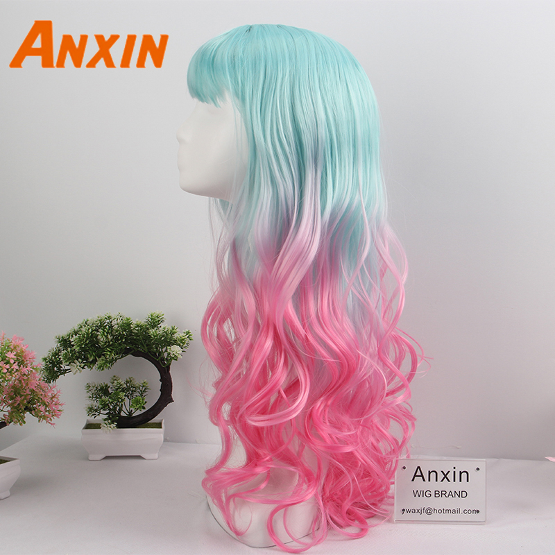 Anxin 2020 Color Gradient Women's New Wave Curl Wig High Temperature Silk Bob Synthetic Wig Party with Anime Playing Wig
