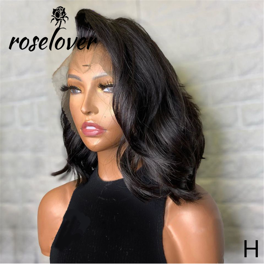 Roselover 13*4 Lace Front Human Hair WIgs Medium Length Short Wavy BOB Remy Brazilian Deep Parting Pre Plucked 150 Density Pixie