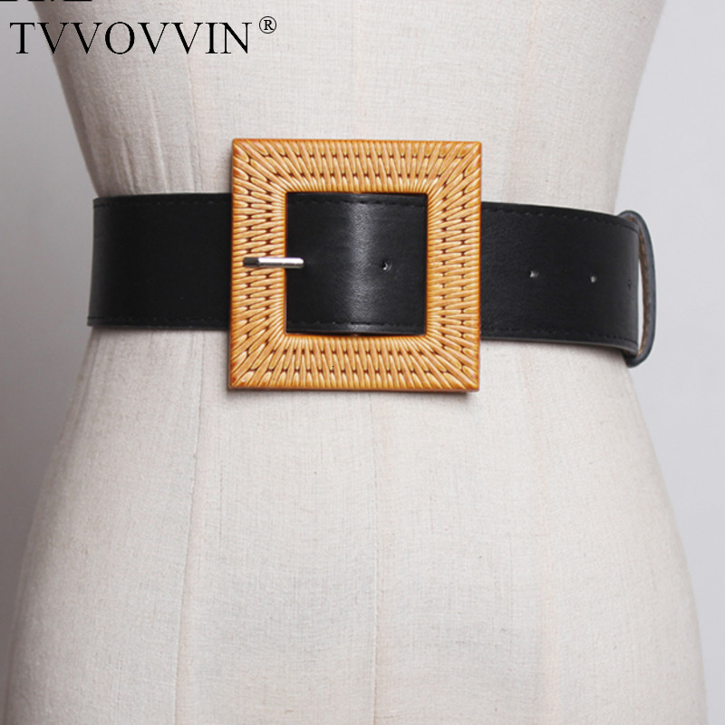 TVVOVVIN 2019 New Spring Summer Pu Leather Personality Brief Rattan Buckle Temperament Belt Women Fashion Tide All-match C756