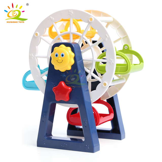 HUIQIBAO DIY Ferris wheel model Big Building Blocks Duploed Size bricks City Construction Children Early Education Toys Kids