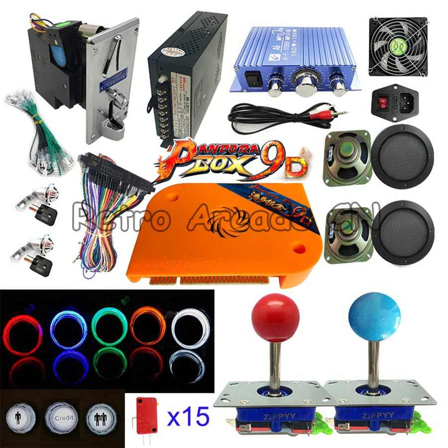 DIY 아케이드 키트 부품 비디오 게임 판도라 박스 9D 2226/2500 in 1 전원 공급 장치 Jamma cable 조이스틱 조명 푸시 버튼