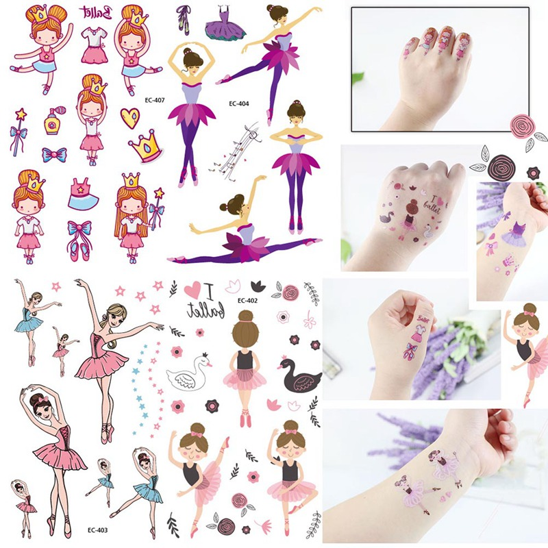 Temporary Tattoo sticker for body art little girl cartoon water transfer flash tattoo fake tatoo for kids child tattoos