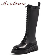 Meotina Motorcycle Boots Women Shoes Genuine Leather Platform Flats Long Boots Lace Up Zipper Knee-High Boots Lady Winter Black knee high boots pu leather rivet lace up sexy lady high boots shoes woman ponited female classic vintage botas riding motorcycle