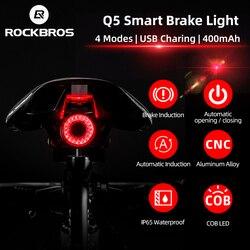 ROCKBROS אופניים חכם אוטומטי בלם חישה אור IPx6 עמיד למים LED טעינה רכיבה על פנס אחורי אחורי אור אביזרי Q5
