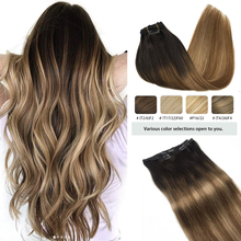 Hair-Extensions Remy-Hair Clip-In Human Natural Straight Full-Head Real Balayage-Color