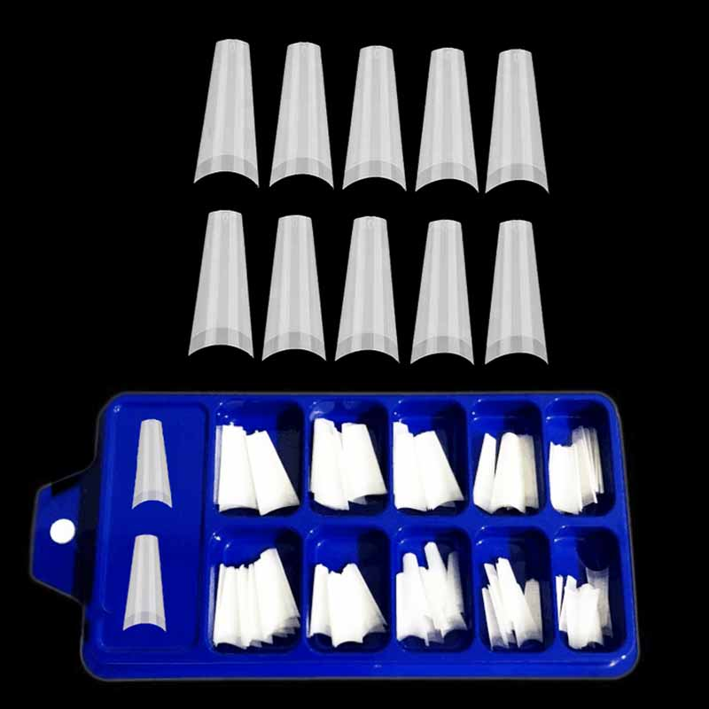 False Nail Tips For Nails Extentions Natural/Clear Half Cover DIY Acrylic French Coffin Fake Nails Manicure Tools