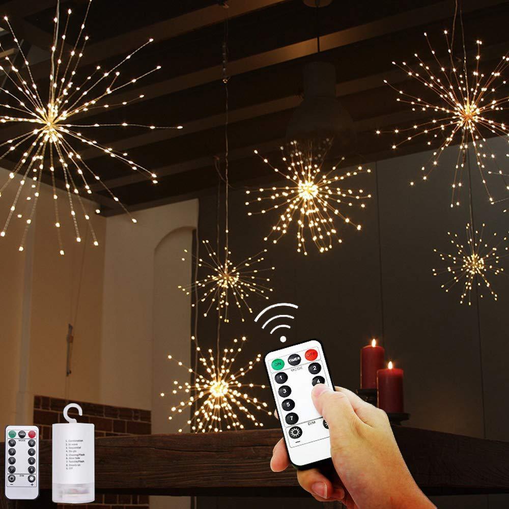 Festival Hanging Starburst String Lights 120-200 Leds DIY Firework Copper Fairy Garland Christmas Lights Outdoor Twinkle Light