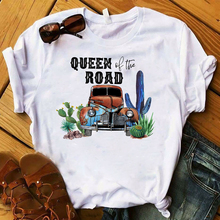 Women T Womens Graphic Queen of The Road Cactus Letters Camping Top Tshirt Female Tee Shirt