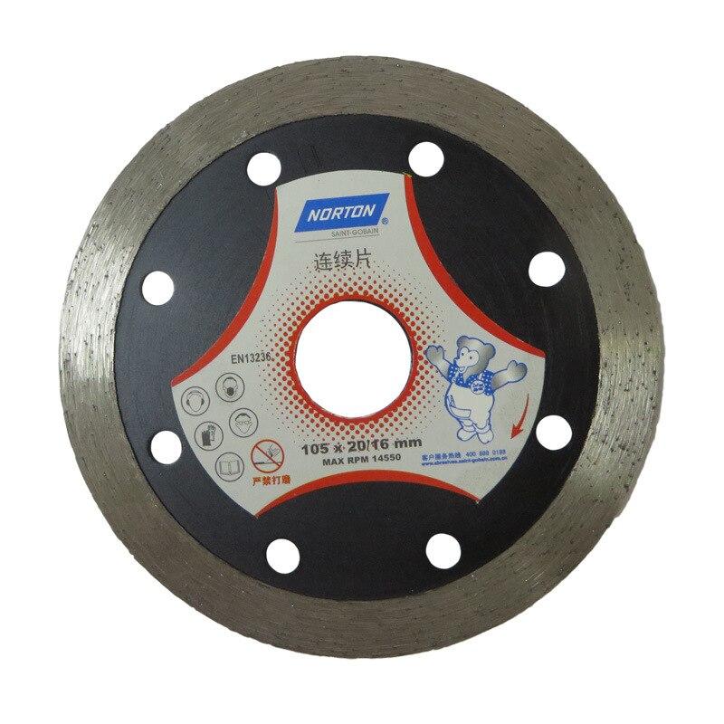 NORTON Silver Bear 105X20/16 Diamond Continuous PCs Small Saw Blade Tile Vitrified Brick Stone Material Cutting Sharp|Grinding Wheels| |  - title=