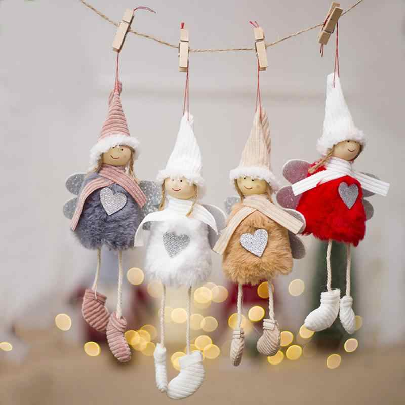 Christmas Angel Plush Doll Pendant Xmas Tree Hanging Decor Home Party Ornament