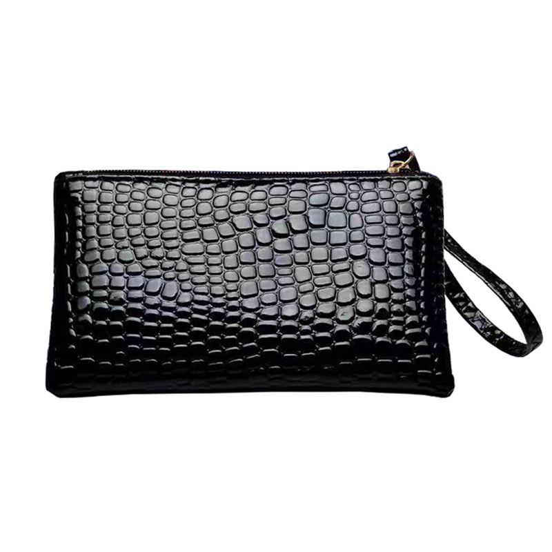 PU Black Women's Clutch Bag Women's Handbag Shopping Change Pouch Female Evening Bags Key Phone Envelope Clutches Pocket 17*10cm