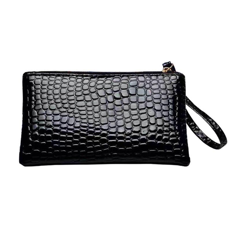 PU Black Women's Clutch Bag Women's Handbag Shopping Change Pouch Female Evening Bags Key Phone Envelope Clutches Pocket 17*10cm