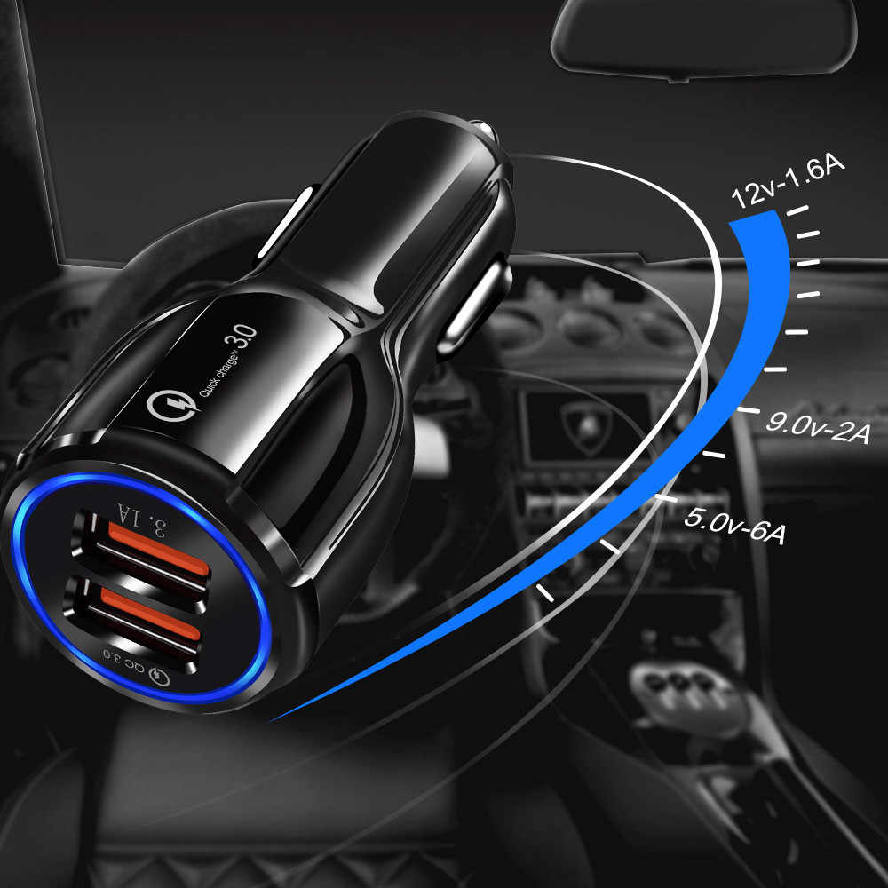 Good 3.1A 2 3 port USB Car Charger Quick Charge 3.0 Phone Car-charger adapter for Samsung Xiaomi iphone Car Phone Charging cable