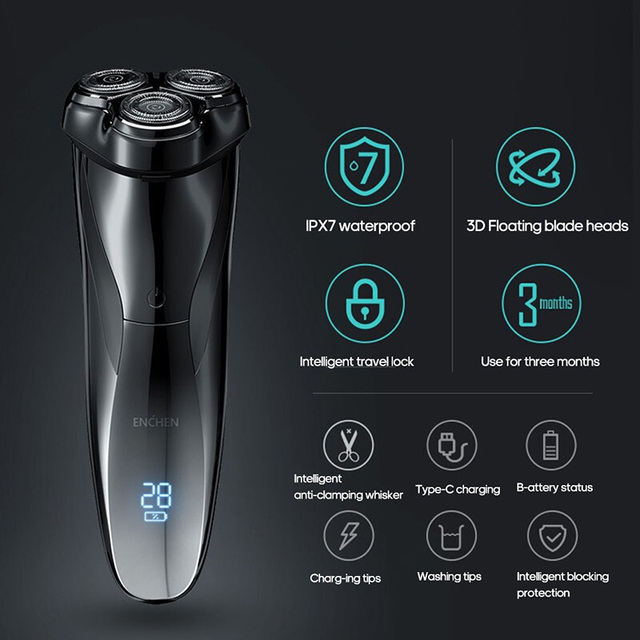 ENCHEN Blackstone 3D Electric Shaver Razor For Men IPX7 Waterproof Wet & Dry Dual Use LCD Display Face Beard Shaving Razor 4