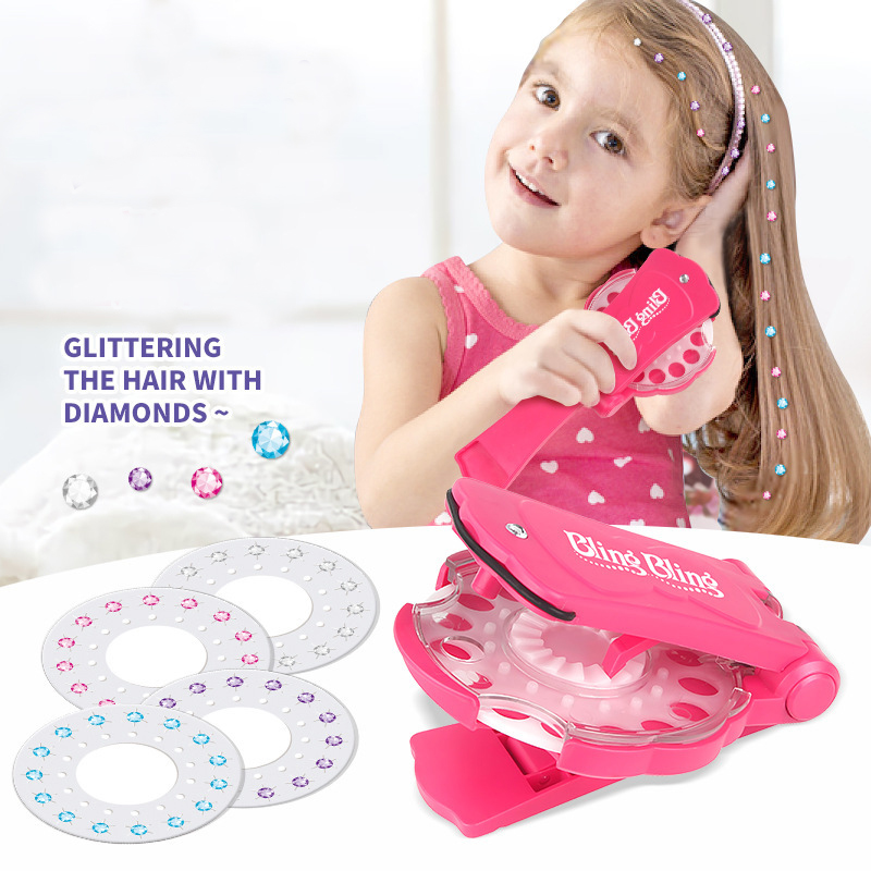 180 Gems Blingers Deluxe Set Girls Toys Pretend Play Jewel Refill Set DIY Girls Hair Styling Tool Diamond Sticker Toys Gifts