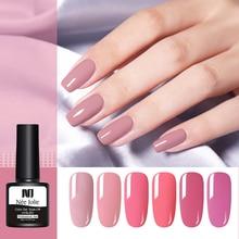 NEE JOLIE 8ml Pink Series Gel Polish Pure Nail Color Permanent Soak Off UV Varnish One-shot Art Design