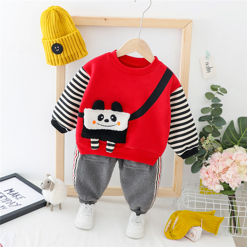 HYLKIDHUOSE Toddler Infant Clothes Suits 2019 Baby Girls Boys Clothing Sets Autumn Plush Cartoon Tops Pants Child Kids Costume