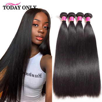 Straight Hair bundles Hair Extension TODAY ONLY Natural Color Peruvian 1/3/4 Bundles 100% Remy Human Hair Bundles 8-26 Inch image