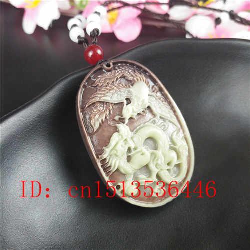 טבעי ירקן הדרקון פניקס תליון חרוזים שרשרת קסם תכשיטי אופנה אביזרי יד-מגולף איש מזל קמע מתנות