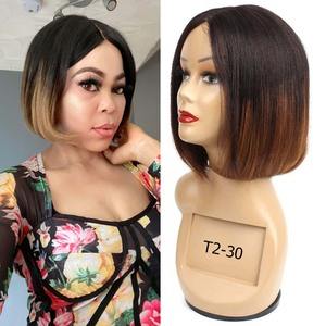 Image 2 - Bobbi Collection Straight Human Hair Wigs I Type Lace Part Wig Cheap Middle Part Full Wigs Short Bob Style Brazilian Remy Hair