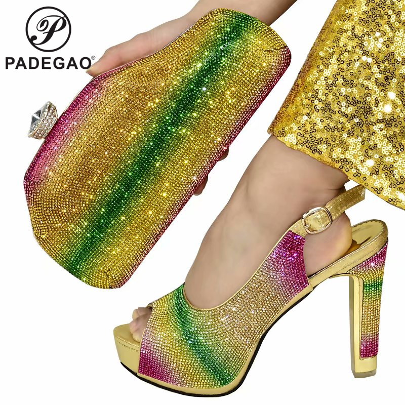 2020 New  Color Fashion Rhinestone Woman Shoes And Matching Bag Set Pretty Style Pumps Shoes And Bag Set For Party