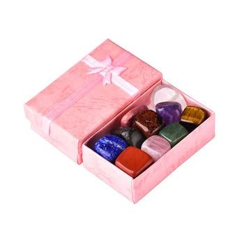 10 шт./компл. чакрас с натуральным камнем, исцеляющий камень, минерал кварца, украшения для дома, Подарочная коробка для детей