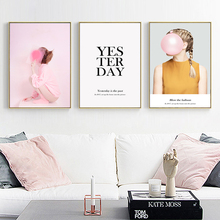 Nordic Pink Girl Bubble Black And White Posters Decoratie Decorativas Pared Wall Pictures For Living Room