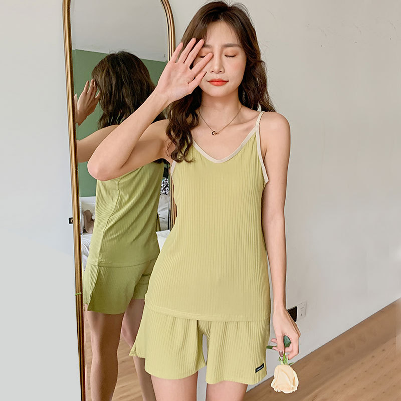 2020 Spring And Summer New Products Suspender Shorts Pajamas Two-Piece Set Lightweight Breathable Japanese-style Ladies Home Lei