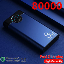 80000mAh Power Bank Portable MobilePhone Fast Charging External Battery with LED Light Roulette Display PoverBank for Smartphone