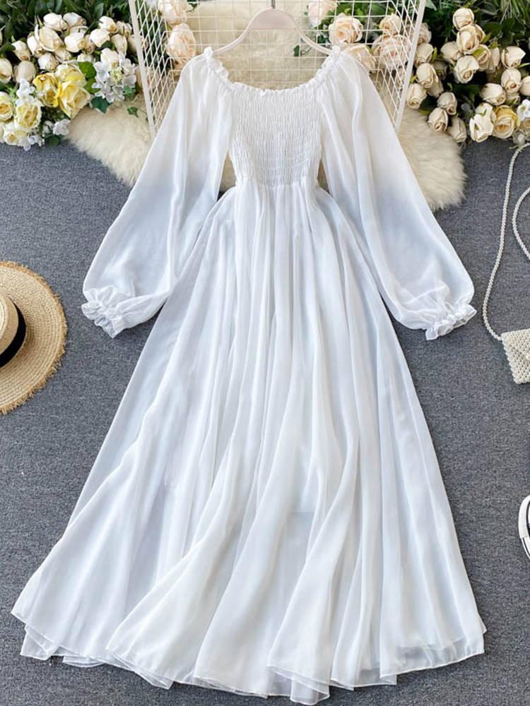 Holiday-Dresses Smocked Puff-Sleeve White Autumn Women Elegant Slash Neck LIN VAREY LY