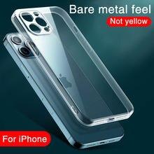 Claro à prova de choque silicone caso do telefone para o iphone 12 pro 12 pro mini 12 pro max lente proteção casos iphone 11 pro max capa traseira