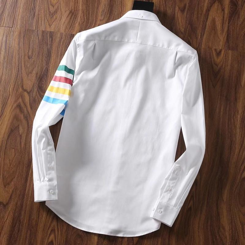 Spring New Brand Top Quality Blue And White Ribbon Mens Smart Casual Shirts Slim Fit Long Sleeve Rainbow Striped Couple Wear
