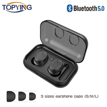 TOPYING True Wireless Earphone Mini Earbuds Bluetooth 5.0 HD Mic High Sound Quality Music Headset Earpiece for iPhone