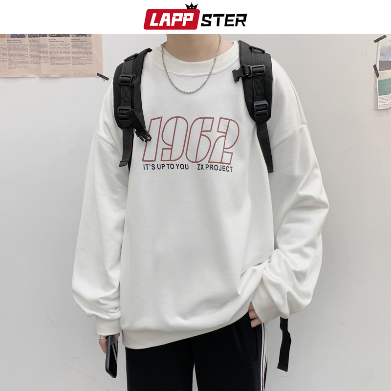 LAPPSTER Men Oversized White Hoodie 2020 Spring Men Japanese Streetwear Hoodies Mens Fashions Hoodies Male Letter Sweatshirts