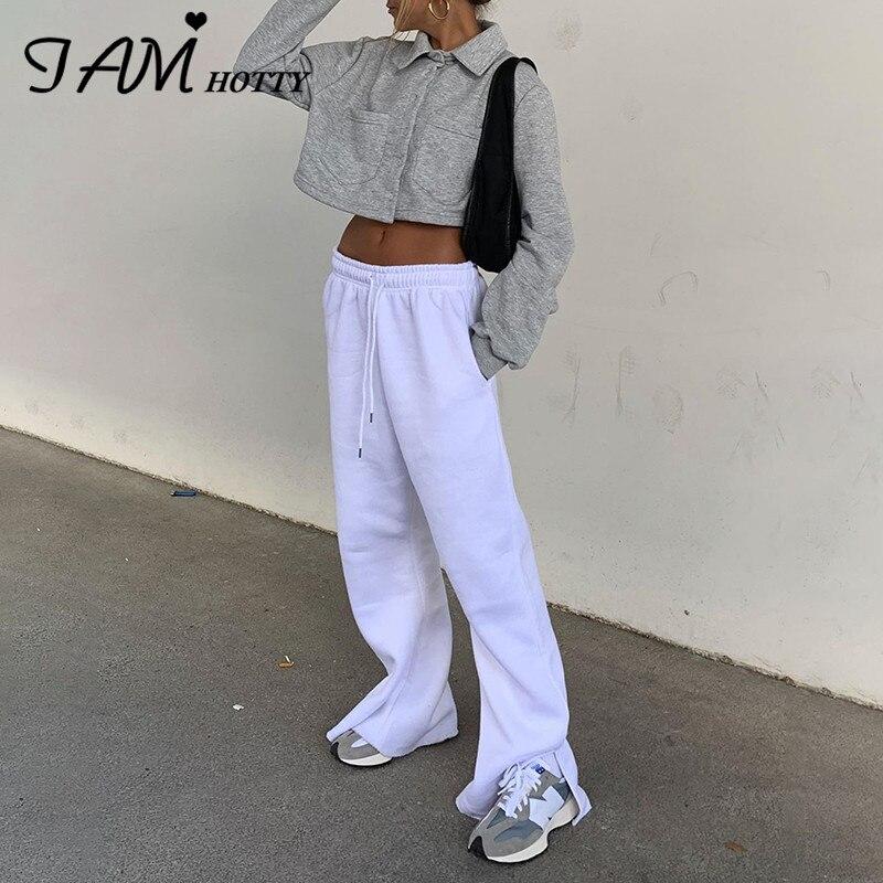 White Split Joggers Sweatpants Women Drawstring Wide Leg Flare Pants Capri Casual Outfits Streetwear Baggy Trousers 2020Iamhotty