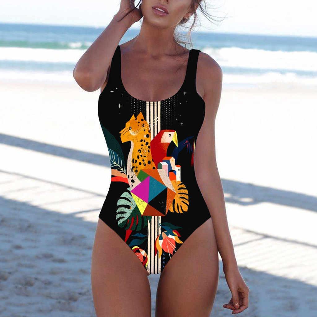 Bañador Sexy de una pieza para mujer, Bikini de impresión Digital, ropa de playa deportiva, traje de baño femenino, Monokini 2020 # H
