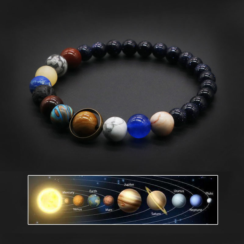 2020 Universe Solar System Bracelet Women Natural Stone Eight Planets Bracelet Men Best Friends Gift For Him Gift For Her MY8(China)
