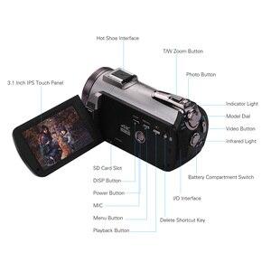 Image 3 - كاميرا فيديو رقمية من ORDRO تعمل بالواي فاي بدقة 4K UHD 30FPS كاميرا تصوير 3.1 بوصة IPS 64X IR رؤية ليلية واسعة الزاوية عدسة خارجية ستيريو ميكرفون لين هود