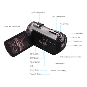 """Image 3 - ORDRO WiFi cyfrowa kamera wideo 4K UHD 30FPS kamera 3.1 """"IPS 64X IR noktowizor obiektyw szerokokątny zewnętrzne radio Mic Len Hood"""