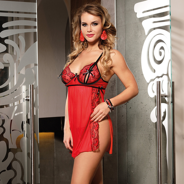 Sexy Nuisette Side Split See Through Nightdress Plus Size #F1632 4