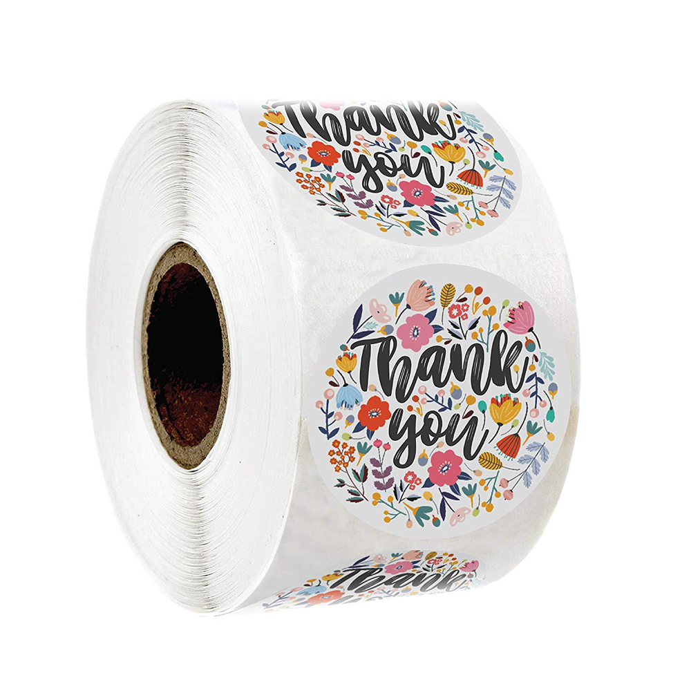 Round Floral Thank You Sticker Flower Design Handmade Stickers For Offer Stationery Sticker 1inch Multi Color 500pcs Per Roll