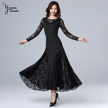2020 New Womens Lace Modern Dance Dress Long Sleeve Dance Wear for Women Ankle Length Oneck Concert Dress for Ladies Singer New