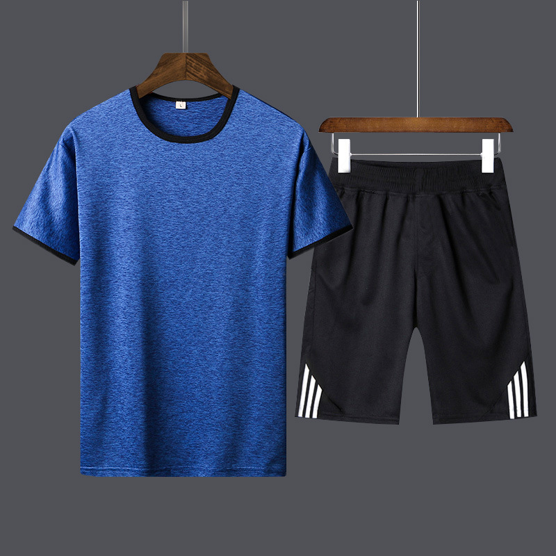 New Style Summer MEN'S Short-sleeved T-shirt Sports Jacket Shorts Teenager Sports Set Blouse Tee