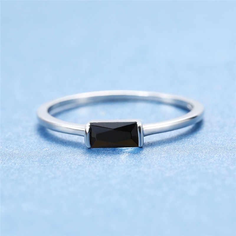 חמוד נשי קטן שחור אבן טבעת 100% אמיתי 925 סטרלינג כסף אצבע טבעת אירוסין הבטחת טבעות לנשים