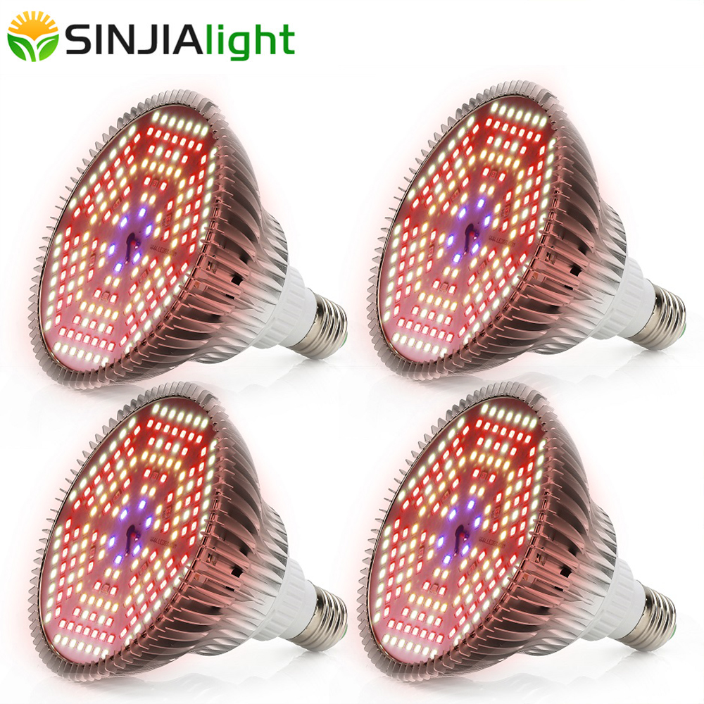4PCS 120W Full Spectrum LED Grow Light 180LEDs Plant Lamp Fito Led Growing Bulb For Plants Flowers Garden Vegs Greenhouse E27